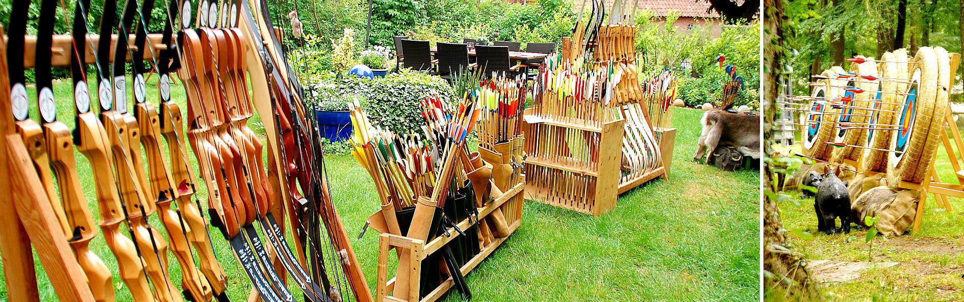 Hochwertige und umfangreiche Ausrüstung für Dein Pfeil und Bogen Event